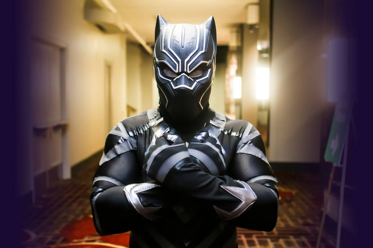 Cosplayer in a Black Panther Suit